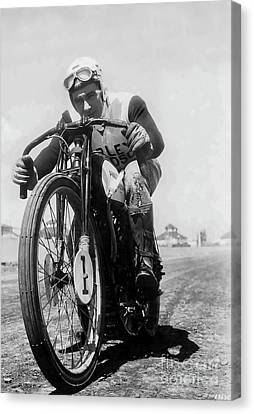 Joe Petrali On His Harley Circa 1937 Canvas Print by Jon Neidert