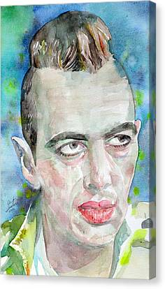 Joe Strummer - Watercolor Portrait.4 Canvas Print by Fabrizio Cassetta