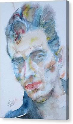 Joe Strummer - Watercolor Portrait.5 Canvas Print by Fabrizio Cassetta