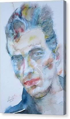 Joe Strummer - Watercolor Portrait.5 Canvas Print