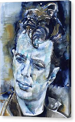 Joe Strummer - Watercolor Portrait.6 Canvas Print by Fabrizio Cassetta