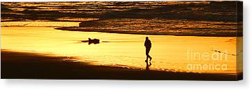 Canvas Print featuring the photograph Jog At Sunset by Larry Keahey