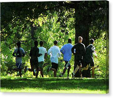 Joggers In The Park Canvas Print by Susan Savad