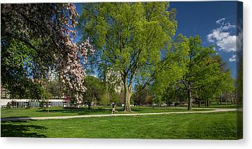 Jogging Canvas Print - Jogging In Forest Park by Garry McMichael