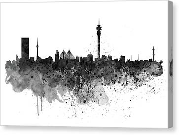 Johannesburg Black And White Skyline Canvas Print