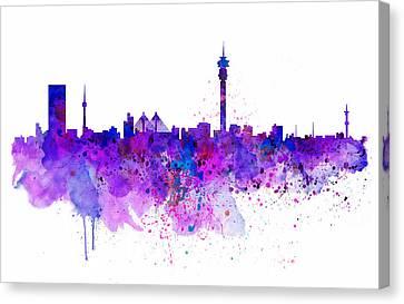Colorful Paints Canvas Print - Johannesburg Skyline by Marian Voicu