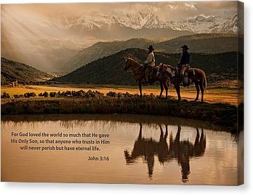 Canvas Print featuring the photograph John 3 16 Scripture And Picture by Ken Smith
