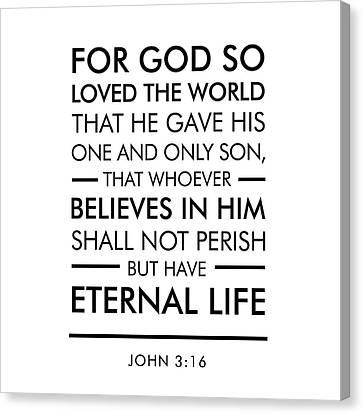 Christ Art Canvas Print - John 3-16 - Spiritual Wall Art - Bible Verses Art by Studio Grafiikka