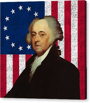 John Adams And The American Flag Canvas Print by War Is Hell Store