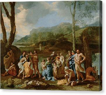 John Baptizing In The River Canvas Print by Nicolas Poussin