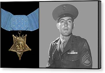 John Basilone And The Medal Of Honor Canvas Print by War Is Hell Store