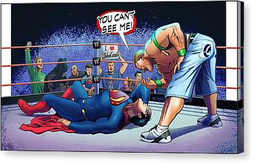 John Cena Vs Superman Canvas Print by Khaled Alsabouni
