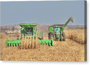 John Deere Combine Picking Corn Followed By Tractor And Grain Cart Canvas Print