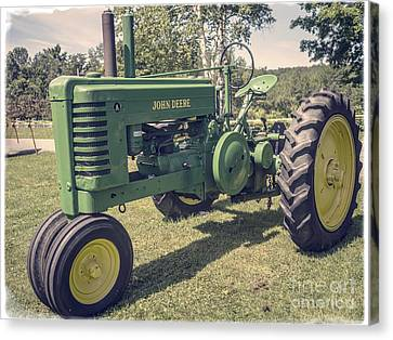 John Deere Green Tractor Vintage Style Canvas Print by Edward Fielding