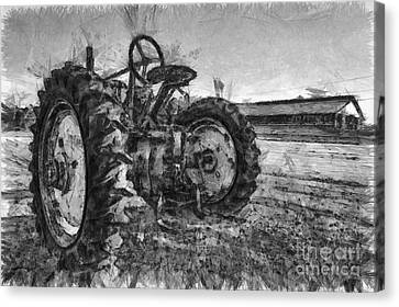John Deere Pencil Drawing Canvas Print by Edward Fielding