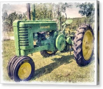 John Deere Vintage Tractor Watercolor Canvas Print by Edward Fielding