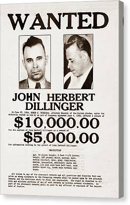 John Dillinger Wanted Poster Canvas Print by War Is Hell Store