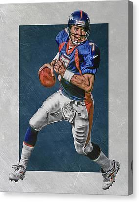 John Elway Denver Broncos Art Canvas Print by Joe Hamilton