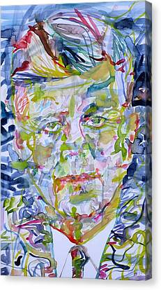 Canvas Print featuring the painting John F. Kennedy - Watercolor Portrait.2 by Fabrizio Cassetta
