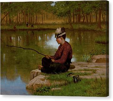 John George Brown Waiting For A Bite Central Park 1886 Canvas Print