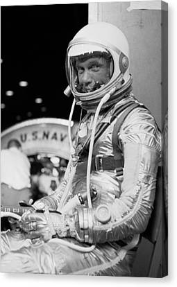 John Glenn Wearing A Space Suit Canvas Print by War Is Hell Store