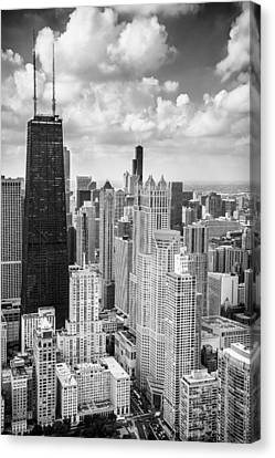 Hancock Building Canvas Print - John Hancock Building In The Gold Coast Black And White by Adam Romanowicz
