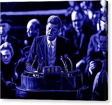 Worlds Canvas Print - John Kennedy President by Marvin Blaine