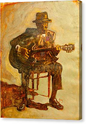 African American Canvas Print - John Lee Hooker by Michael Facey