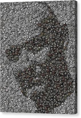 John Locke Dharma Button Mosaic Canvas Print by Paul Van Scott