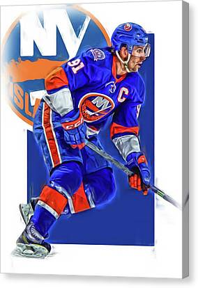 John Tavares New York Islanders Oil Art Series 1 Canvas Print by Joe Hamilton