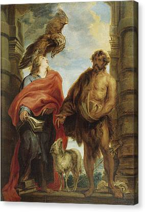 John The Evangelist And Saint John The Baptist Canvas Print