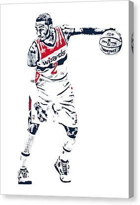 John Wall Washington Wizards Pixel Art 2 Canvas Print by Joe Hamilton