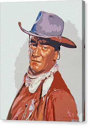 John Wayne - The Duke Canvas Print by David Lloyd Glover