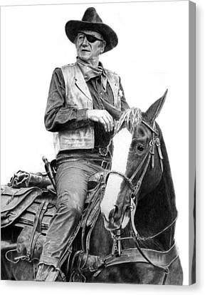John Wayne As Rooster Cogburn Canvas Print by Ronny Hart