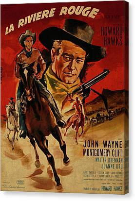 Movie Poster Canvas Print - John Wayne Red River French Version Vintage Classic Western Movie Poster by Design Turnpike