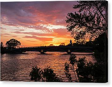 John Weeks Bridge Harvard Square Chales River Sunset Trees Canvas Print by Toby McGuire