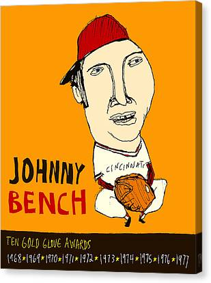 Johnny Bench Cincinnati Reds Canvas Print by Jay Perkins