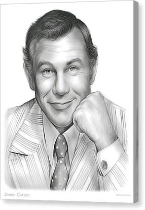 Johnny Carson Canvas Print - Johnny Carson by Greg Joens