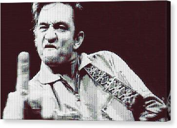 Johnny Cash Beer Cap Mosiac Canvas Print by Dan Sproul
