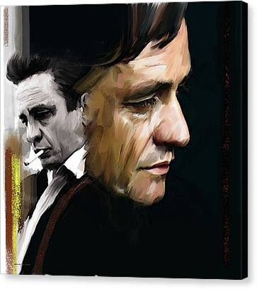 Canvas Print featuring the painting Johnny Cash  Hurt by Iconic Images Art Gallery David Pucciarelli