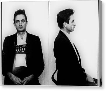 Johnny Cash Canvas Print - Johnny Cash Mug Shot Horizontal by Tony Rubino