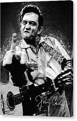Johnny Cash Canvas Print - Johnny Cash by Taylan Apukovska
