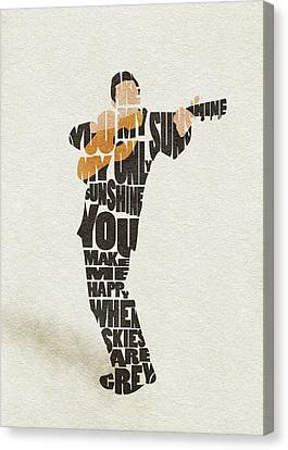 Canvas Print featuring the painting Johnny Cash Typography Art by Inspirowl Design
