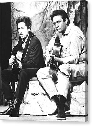 Johnny Cash, With Bob Dylan, C. 1969 Canvas Print by Everett
