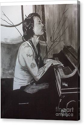 Canvas Print featuring the painting Johnny Depp 1 by Justin Moore