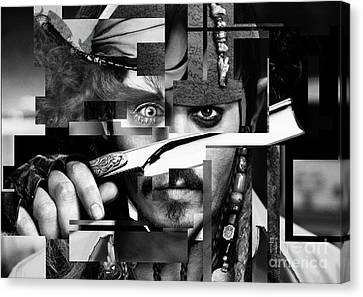 Johnny Depp - Collage Art Abstract - Black And White Canvas Print