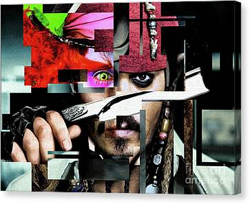 Johnny Depp - Collage  Canvas Print by Prar Kulasekara