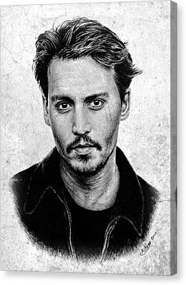 Johnny Depp Grey Specked Ver Canvas Print by Andrew Read