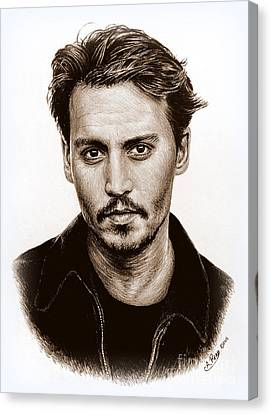 Johnny Depp Sepia Canvas Print by Andrew Read