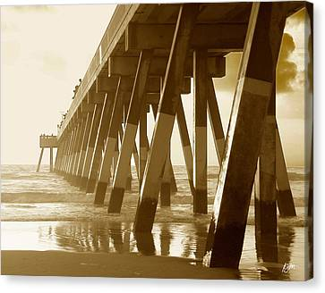 Canvas Print featuring the photograph Johnny Mercer Pier At Sunrise by Phil Mancuso